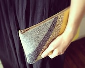 Leather&Glitter Clutch Bag (yellow)