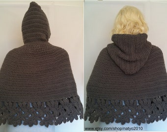 INSTANT DOWNLOAD Crochet Hooded Cape Pattern PDF - Unic Size