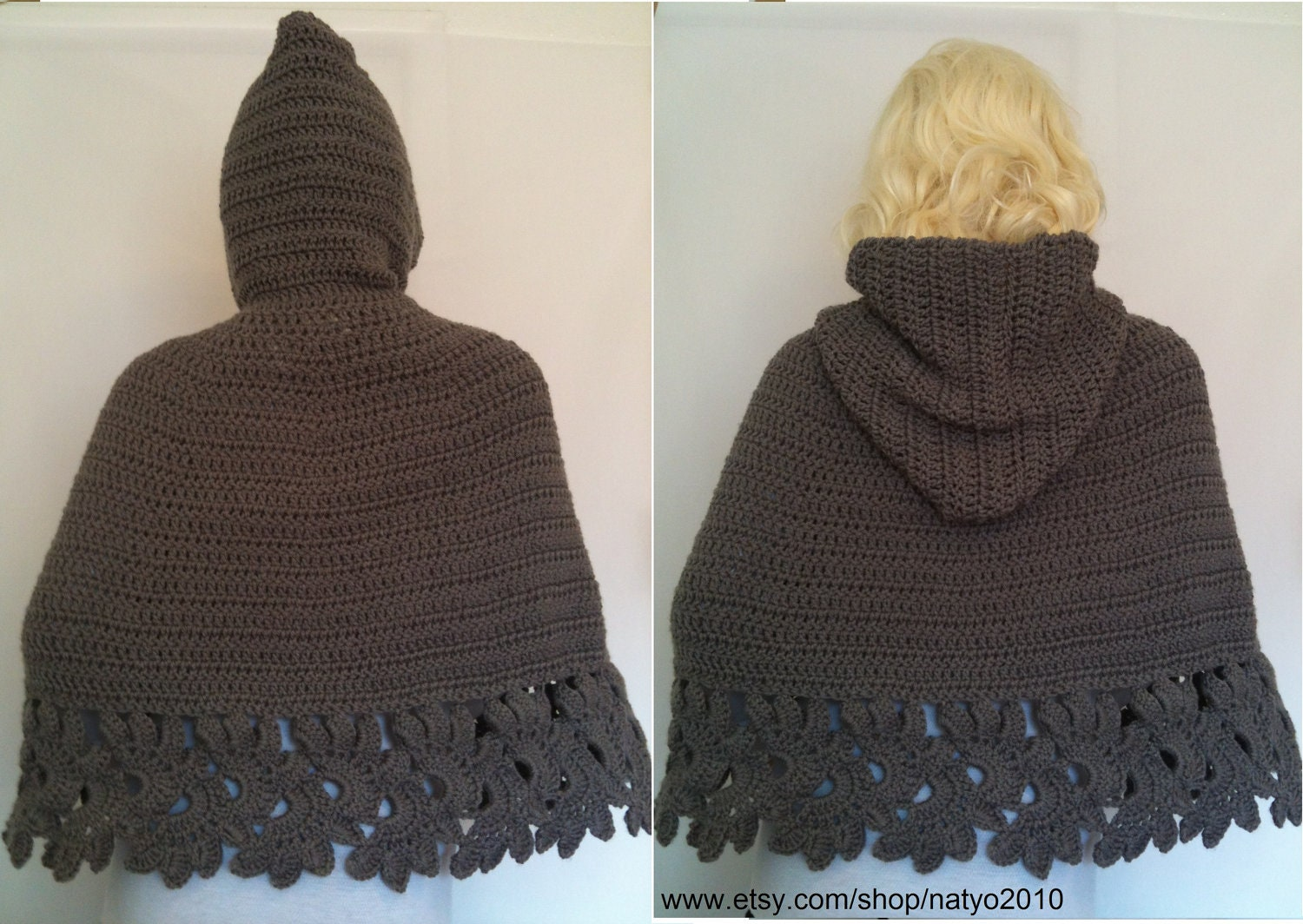 Hooded Cape Knitting Pattern : INSTANT DOWNLOAD Crochet Hooded Cape Pattern PDF by NatalieSpot