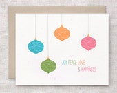 Custom Holiday Cards Set of 10 - Colorful Ornaments, Love, Joy, Peace, Happiness - Unique Christmas Cards