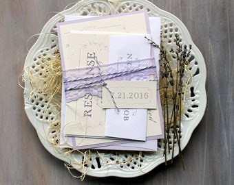 """Purple Wedding Invitations, Lace Wedding Invitations, Lavender, Lilac, Rustic and Elegant Purple Wedding Invites - """"Purple Charmer"""" Deposit"""