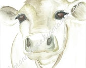 Old Farm Cow Watercolor print