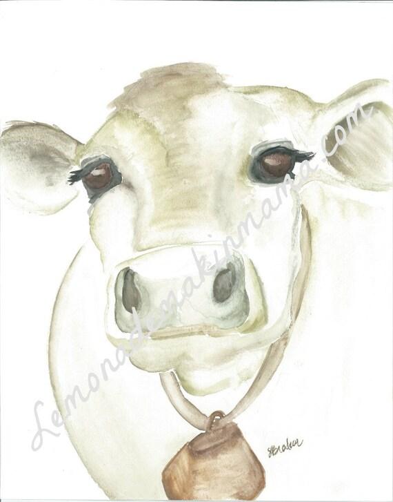 Old Farm Cow Watercolor print