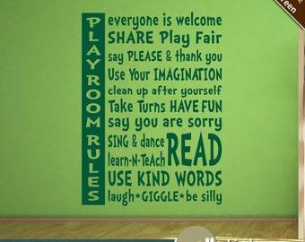 Playroom Rules Wall Decal - Nursery Wall Decal - Playroom Wall Decor - Vinyl Wall Quote - WD0213
