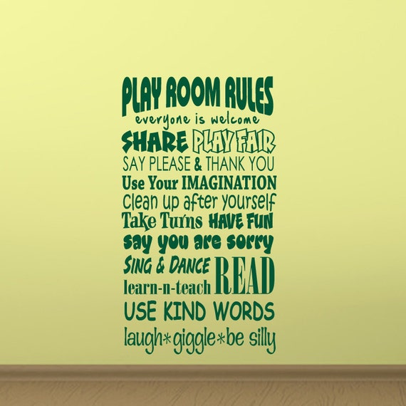 Play Room Rules Wall Decal Vinyl Playroom Wall By Wallstickums