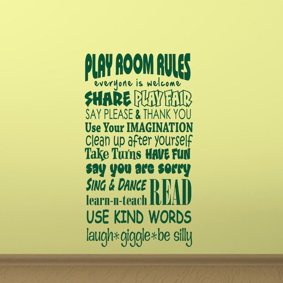 Funny Bedroom Quotes Bedroom Colors For Man Two Bedroom Apartment Design Lime Green Bedrooms For Girls: Items Similar To Play Room Rules Wall Decal Vinyl Playroom