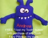 Tooth Fairy Pillow Personalized Monster for Girls or Boys features large back pocket