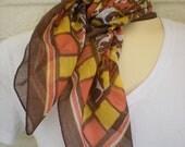 Vintage 1950s Brown, Orange, & Golden Yellow Batik Print Scarf