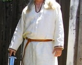 Historical Viking, Medieval linen tunic with Celtic knot trim