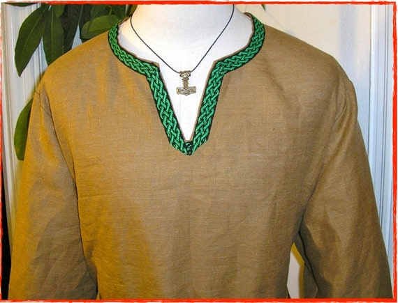 Historical Viking, Medieval linen tunic with Inkle Woven Celtic knot trim