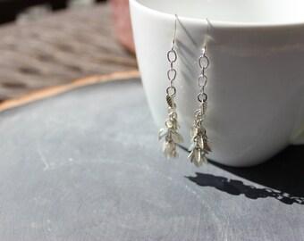 Silver Cascading Leaf Earrings