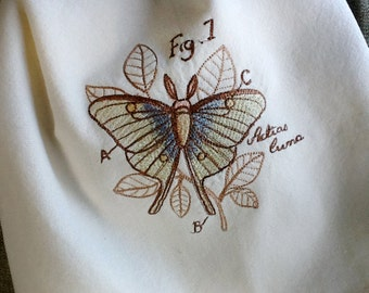 Victorian Entomology style design of Luna Moth embroidered towel