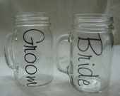 Bride and Groom 16 ozMason Jar Mugs-Weddings-Drinkware-Bridal Shower Gift
