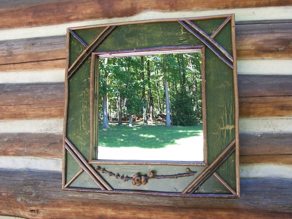 Forest Green Twig Mirror with Acorn Buds