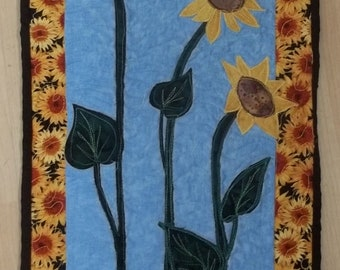 Three Appliqued Sunflowers  With a Dragonfly Quilted Original Design Wall Hanging
