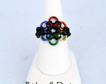 Rainbow Flower Stretch Ring - Rainbow Vers.4 - Aluminum Chainmaille Jewelry