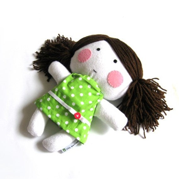 Rag doll toy handmade stuffed puppet plushie softie girl kid kids cuddly child friendly safe white lime green polka dot dotted dress 11""