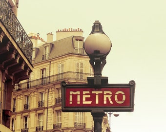 Paris Photograph - On the Metro - metro sign in Paris, fine art photography