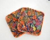 Autumn Leaves Print- Pair of Quilted Fabric Pot Holders