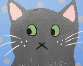 Whimsical Folk Art Cat Painting