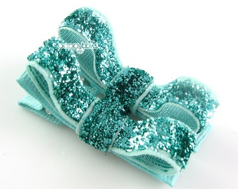 Aqua Glitter Hair Clips - Toddler Hair Clips - Baby Hair Clips - No Slip Grip for Fine Hair Tuxedo Bow