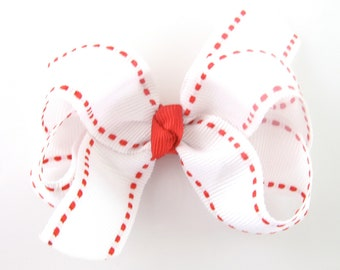 White and Red Hair Bow - Baby Hairbow with Saddle Stitch - Baby Toddler Girl - Boutique Hair Bow Non Slip Alligator Clip