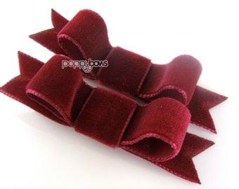 Velvet hair bows, pair of velvet hair clips, burgundy velvet hair bows, dark red cranberry wine Christmas hair bows, baby hair bows, girls