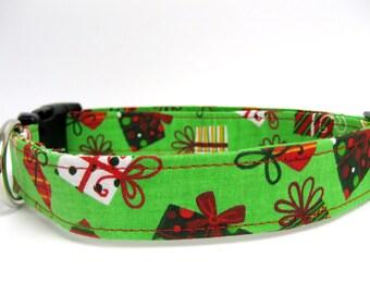 "Christmas Present Dog Collar - 5/8"" XS/Small Sizes"