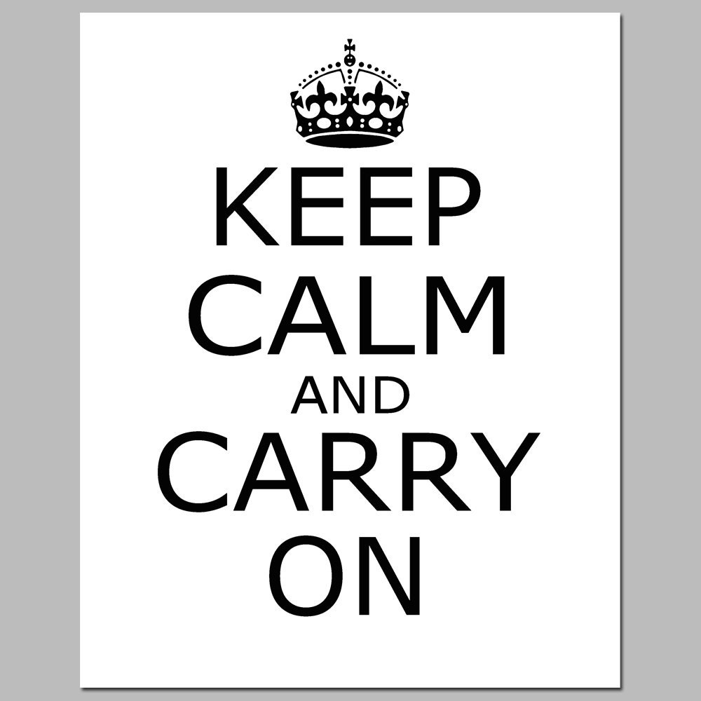 items similar to sale keep calm and carry on 8x10 print black and white on etsy. Black Bedroom Furniture Sets. Home Design Ideas