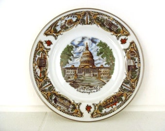 Vintage Washington DC Capitol Building Souvenir Transferware Plate DC Landmarks Capital of The United States of America Made in Japan CAPSCO