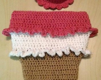 Crocheted Ice Cream Cone/Sundae Cocoon with matching Hat