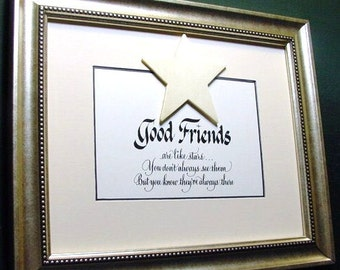 Friendship Gift.  Framed quote for Friends.  Best Friends Forever Saying