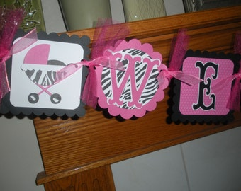 Baby Shower Banner, Baby Buggy Banner, Welcome Baby Shower Banner, Zebra Hot Pink Banner, Matching Tissue Poms Are Available