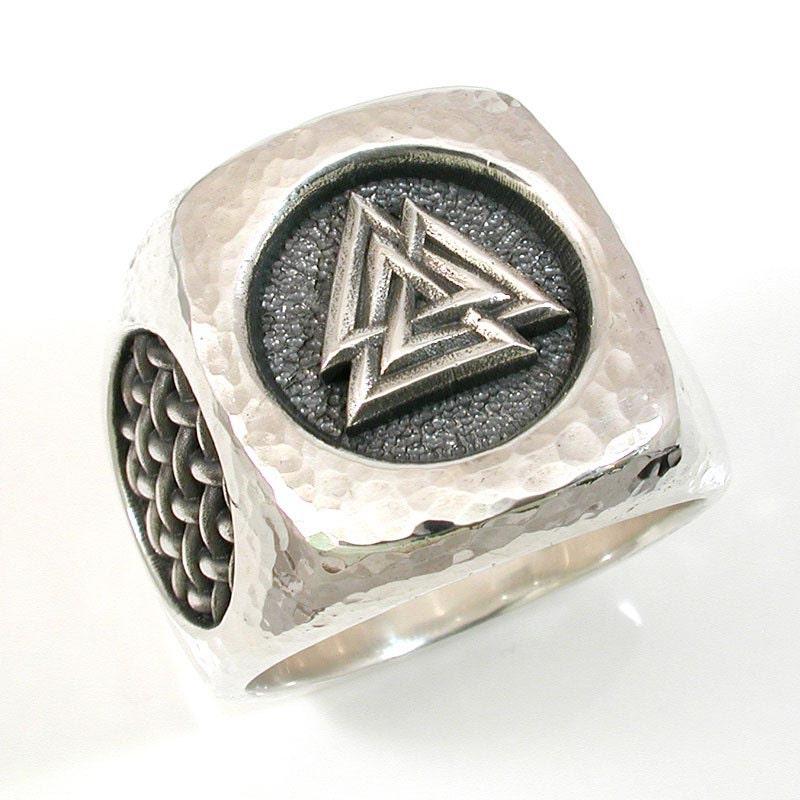 mens valknut symbol silver ring hammered by swankmetalsmithing