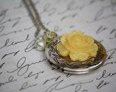 A Simple Vintage Antique Silver Locket Yellow Rose Necklace - Yellow Locket Necklace - Bridesmaid Necklace - Locket Necklace