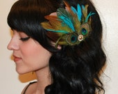 Brown Turquoise Goose and Natural peacock Feather with Olive green accents Boutique Large Hair Clip Fascinator Photp Prop