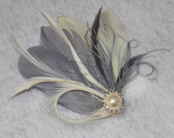 Gray and Ivory Goose Feather Boutique Medium Bridal Hair Clip Fascinator Photp Prop