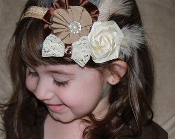 Brown Tan Ivory Triple Flower Bow with Feathers, Tulle and Pearl accents on Elastic Headband Photo - Many sizes available Prop