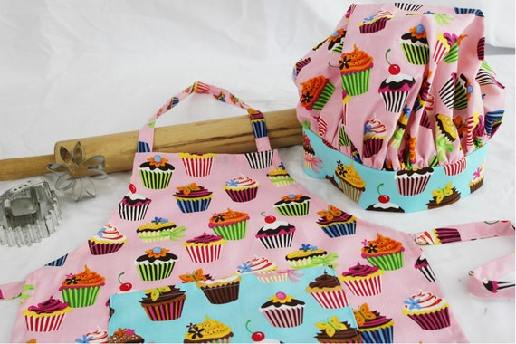 Retro Pink Cupcake Child Apron and Adjustable Chef Hat with teal pocket