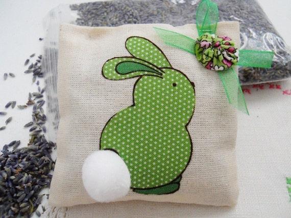 RESERVED FOR DEBBY     3   Lavender Sachet  Mini Pillows - Green Bunny - Easter