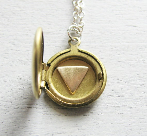 Triangle Locket Necklace, Personalized Locket, Letter Necklace, Silver Initial Jewelry, Geometric Jewelry, Symbolic Jewelry, Long Necklace