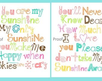 Art For Girls Room // Girls Nursery Art // You Are My Sunshine Decor // Colorful Art For Nursery // Colorful Art for Girls, 2-8x10 PRINTS