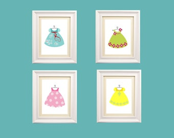 "Playroom Art // Art for Girls Room // Little Girl Dresses Art // Nursery Decor for Girls // Baby Girl Shower Gift // Four 5x7"" PRINTS ONLY"