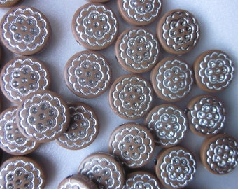 Brown and Silver Flat Acrylic Beads 16mm 10 Beads
