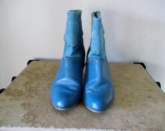 1980s Teal Blue Ankle Boots