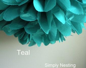 1 Teal Tissue Paper Pom Pom