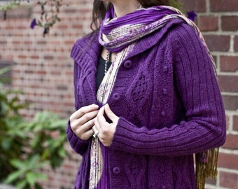 Hand Knit Cabled Cardigan, Button Up Cardigan Cable Knit Sweater Knit Cardigan