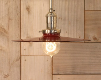 Semiflush Lighting with Exposed Socket Design with Red Metal Shade
