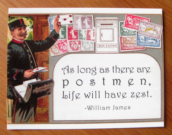 Zesty French Postman with quote postcard set, pack of 5