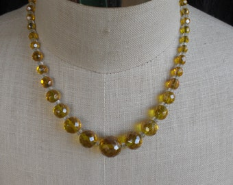 Vintage Yellow and Clear Crystal Glass 1940s to 1950s Necklace Faceted Beads Graduated